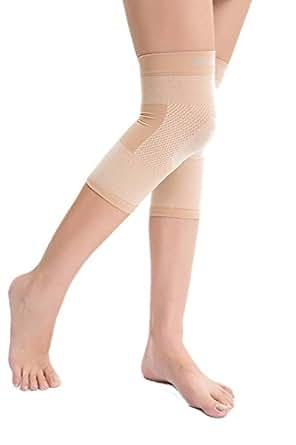 COMVIP Donna Signore di alta permance ginocchio Involucri di compressione di sostegno manica Asia S: Coscia: 37-41cm, Vitello: 25-29cm Nudo