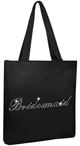 Varsany, shopping bag in cotone con decorazione a strass, porta-regali, per matrimonio, colore: nero Borse shopper Bridesmaid Bridesmaid