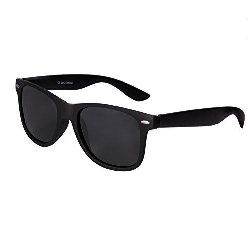 Blues Sonnenbrille (Hochwertige gummierte Nerd Sonnenbrille Rubber im Retro Stil Vintage Unisex Brille mit Federscharnier Blau und Rot verspiegelte Gläser (Schwarz)