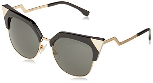 Fendi ff 0149/s p9 rew, occhiali da sole donna, nero (black gold/grey), 54