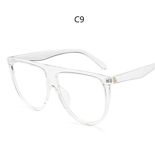 YLNJYJ Sonnenbrillen Dünne Flat Top Sonnenbrille Frauen Markendesigner Retro Vintage Sonnenbrille Weibliche Kim Kardashian Sonnenbrille Klarglas