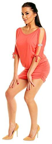 Zeta Ville - Mini Robe - Sexy Robe de club dégageant les épaules - Femme - 157z Corail