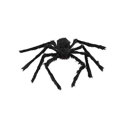 Halloween Dekorationen, schwarze Spinne Halloween Dekoration Spukhaus Prop Plüsch Spinne Scary Dekoration, große Spinne Spukhaus Bar Szene Layout Anhänger, Simulation Spinne Silk Spider Web Requisiten (Web-schwarz Spider Licht Halloween)
