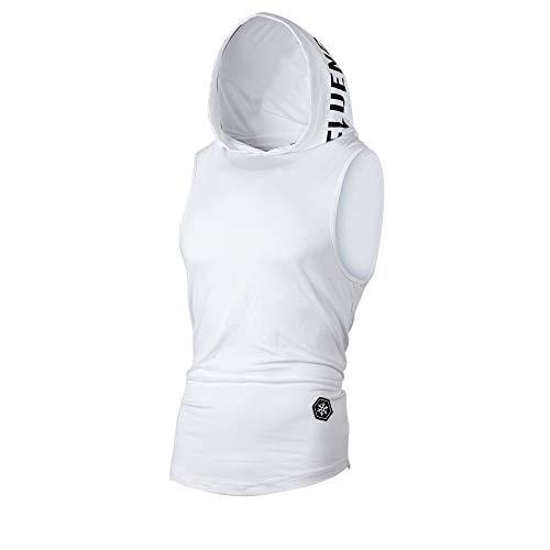 UJUNAOR Tank Top Herren Slim Fit Basic T-Shirt Tankshirt Mit Kapuze Ärmellos Muskelshirt Fitness Unterhemden(Weiß,EU XL/CN 2XL) - Kleid Hip Hop