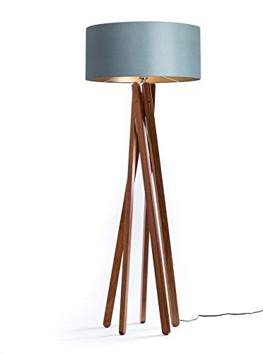 Design Stehlampe Tripod | Textil Schirm in Grau Gold aus dunklem Holz Echtholz Nussbaum Handgefertigte Leuchte