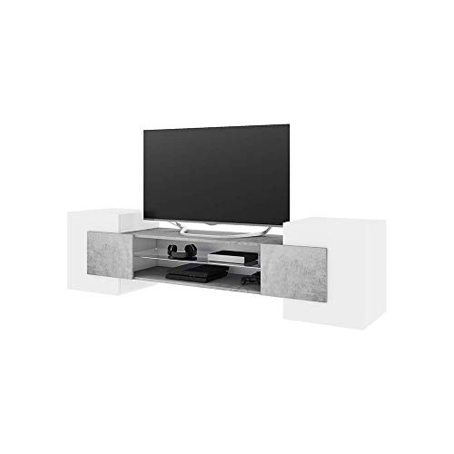 Selsey Charles Meuble TV Bas de Gamme Moderne sans LED Blanc/béton 39 x 160 x 51 cm