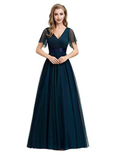 Ever-Pretty Damen Abendkleid A-Linie Tüll Brautjungfer Partykleid Kurze Ärmel lang Navy blau 48