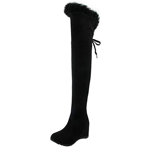 Com Calcanhar Preta Inverno Quente Lã Chelsea Botas Taoffen Longas Cunha Senhoras Camurça P4RzWqpz