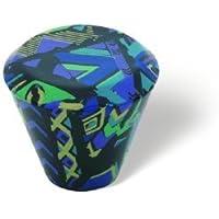 SIRO Möbelknopf Hilpolstein, Muster, Kunststoff bedruckt - Schwarz-Blau, 28 mm x 28 mm x 25 mm, M506-28AD5