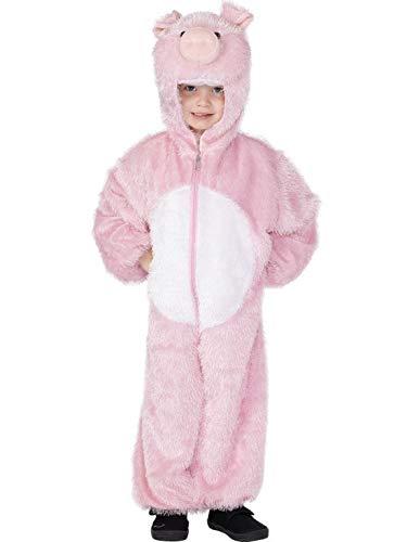 Luxuspiraten - Kinder Jungen Mädchen Kostüm Plüsch Schwein Pig Schweinchen Fell Einteiler Onesie Overall Jumpsuit, perfekt für Karneval, Fasching und Fastnacht, 104-116, Rosa