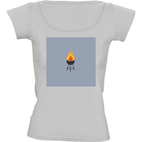 round-neck-white-t-shirt-for-women-medium-size-bbq-on-fire-by-ilovecotton