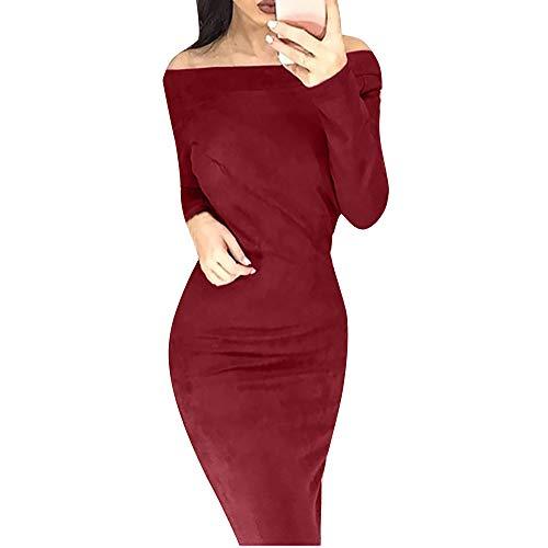 Xmiral Damen Kleid Mode Schlank Suede Langarm Slash Neck Solid Off Schulter Bodycon Party Kleider (S,Rot)