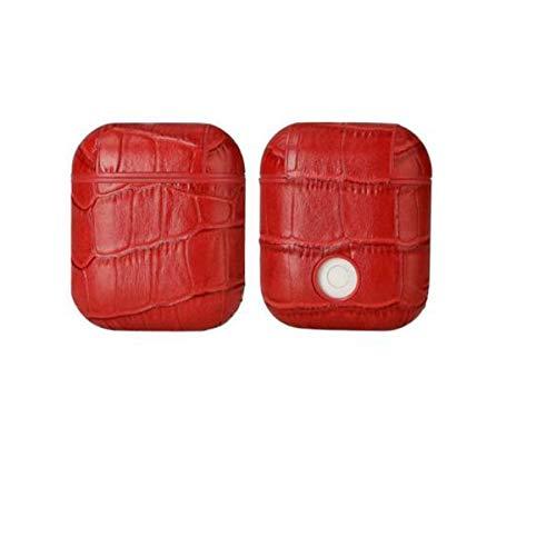 8HAOWENJU Drahtlose Bluetooth-Kopfhörerabdeckung für Unternehmen, Echtleder-Oberschicht-Krokodilleder-Kopfhörer, Anti-verlorene, sturzsichere Aufbewahrungsbox, Schnalle und keine Schnalle, Blau, Braun