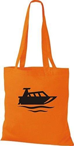 JUTA Tote Bag BARCA MOTORE, YACHT, barca, CAPITANO Arancione