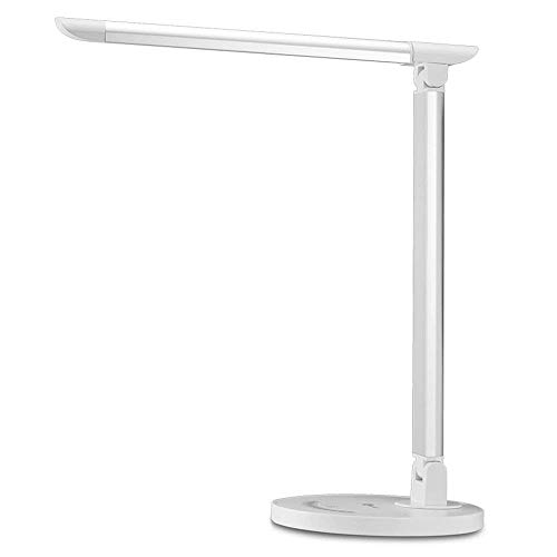 TaoTronics LED Desk Lamp Eye-caring Table Lamp, Lamp with USB Charging Port, Office Lamp, Touch Control, 5 Color Modes, White, 12W