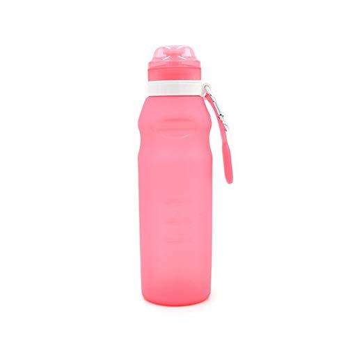 ydyl-li viaggi portatile pieghevole bici sport all'aria aperta bollitore in silicone pieghevole bottiglia d'acqua regalo personalizzato in vetro 600ml,pink