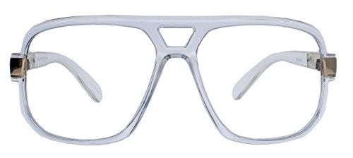 Kultige Nerd Brille 70er 80er Jahre Streberbrille Retro Kassengestell Hornbrille HN14 (Transparent)
