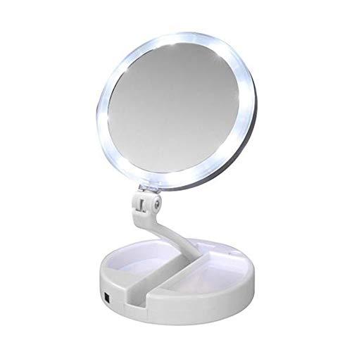 Kosmetikspiegel Beleuchtet mit 21 LED Licht, klappbar Tischspiegel Doppelseitige Schminkspiegel mit 10X Vergrößerung Make-Up-Spiegel Desktop Spiegel Aufbewahrungsbox für Schminken, Rasieren -