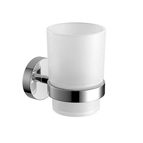 Moderner Zahnbürstenhalter (Soak Moderner Zahnbürstenhalter für die Wand - Elegante Aufbewahrung für Zahnbürsten - verchromt, rund, einfache Montage)