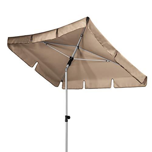 Doppler Active - Rechteckiger Sonnenschirm für Balkon und Terrasse - Knickbar - 180x120 cm - Greige