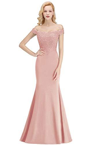 MisShow Damen Off Shoulder Meerjungfrau Abendkleid für Hochzeit Chiffon Cocktailkleid mit Stickerei lang Nude Rosa 38
