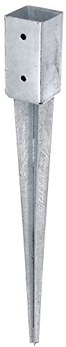 erdhuelsen GAH-Alberts 211271 Einschlag-Bodenhülse für Vierkantholzpfosten - feuerverzinkt, 71 x 71 mm / 750 mm