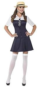 Smiffys-31105M Disfraz de Colegiala, Vestido, Camisa acoplada, Corbata y canotié, Color Negro, M-EU Tamaño 40-42 (Smiffy