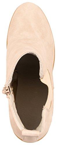 Elara Ankle Boots | Trendig Bequeme Damen Stiefeletten | Plateau Blockabsatz Beige -