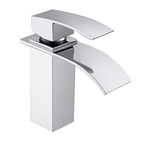 UISEBRT Wasserhahn Bad Armatur Wasserfall - Waschtischarmaturen Einhebelmischer für Badezimmer Waschtisch, Messing Verchromt, Moderne Elegant Stil (Modell A)