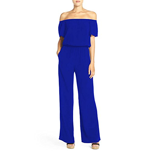 4d1919ab0f0a81 iBaste Hosenanzug Damen elegant Jumpsuit damen Lang Hosen Schulterfreies  Overall Spielanzug Playsuit Blau