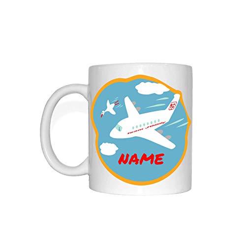 JOllify Wunschname Kinder Tasse - Dein Name auf Einem lustigen Motiv: Flugzeug - Flieger in den...