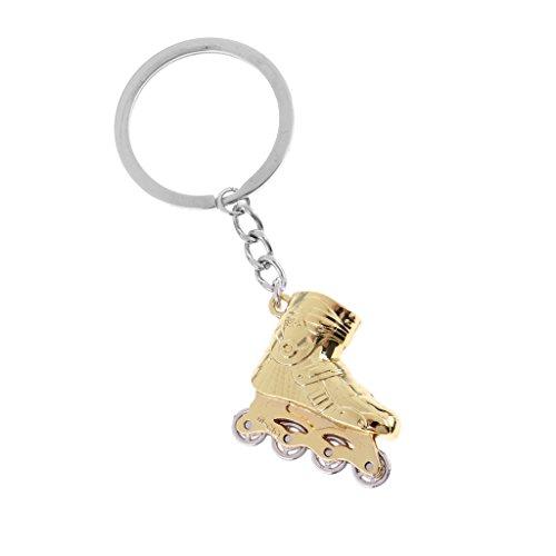MagiDeal Taschen Rollschuhe Schlüsselanhänger Metall Rucksack Anhänger Damen Herren Tasche Deko, 8 x 3 cm - Gold
