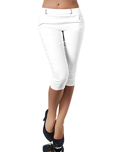 Diva-Jeans N829 Damen Caprihose Treggings Leggings Stoffhose Sommerhose Knielang 3/4 Capri, Farben:Weiß, Größen:L - Weiße Capri-jeans