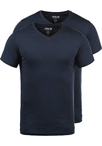 Baumwolle Tipped Pullover Mit V-ausschnitt (!Solid Portus Herren T-Shirt Kurzarm Shirt Mit V- Ausschnitt Aus 100% Baumwolle Stretch 2er Pack, Größe:M, Farbe:Insignia Blue (1991))