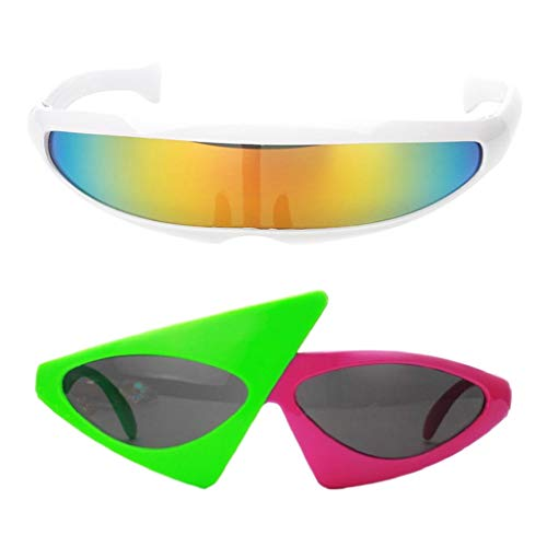 F Fityle 2er Pack Lustige Partybrille Dreieck Brille Party Sonnenbrille Futuristische Partei Dekoration Gläser