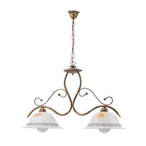 Onli lampadario 2 luci giorgio in metallo marrone spennellato oro e vetri sfumati, bronzo