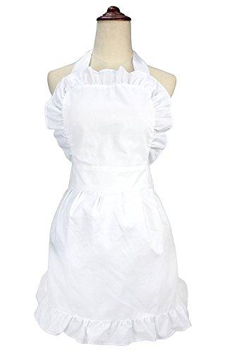 lilments Damen Rüschen Outline Retro Taschen Schürze Küche Kochen Reinigung Dienstmädchen Kostüm weiß (Unten Rüschen)