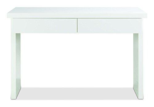 Konsolentisch Schminktisch Frisierkommode | Weiß Hochglanz | 2 Schubladen | 120cm breit