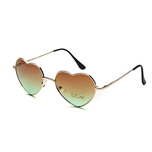 Dollger Herz Sonnenbrille Dünne Metallrahmen Schöne Aviator-Art für Damen(Braun Verlaufsgläser+Goldrahmen)