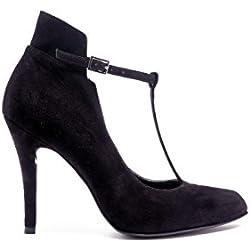 PoiLei Tiziana - Damen Schuhe / T-bar Riemchen-Pumps - mit Stiletto-Absatz schwarz