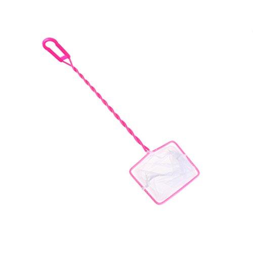 LANDUM Fischerei-Behälter-Netz-Plastikweiches Quadrat-Ineinander greifen-Fisch-Garnele-Erfassung für Aquarium-Werkzeuge Rosa Rechteck 4