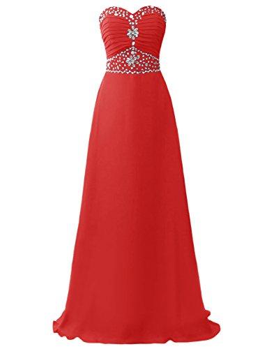Dresstells Robe de cérémonie Robe de soirée emperlée bustier en cœur avec traîne Rouge