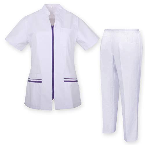MISEMIYA - Arbeitskleidung Frau Kurze ÄRMEL Unisex-Schrubb-Set - Medizinische Uniform mit Oberteil und Hose - Ref.7028 - X-Small, Flieder