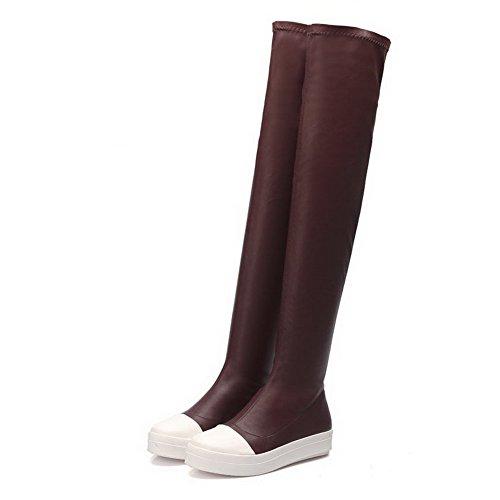 Odomolor Damen Gemischte Farbe Niedriger Absatz Hoch-Spitze Ziehen auf Stiefel, Braun, 37