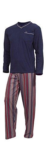 e.VIP® Herren Schlafanzug OLAF 199, Langarm, lange Hose, reine Baumwolle, in Farben: Marine/Beige oder Marine/Weinrot, verschiedene Größen Marine/Weinrot