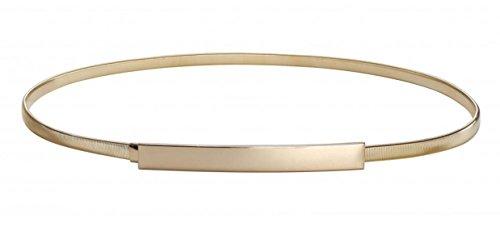 WODISON Damen Dünner Gold Verriegelung Gürtel Schmal Metall Elastischer Taillengürtel Hüftgürtel für Kleider, Gold, L(30-32)