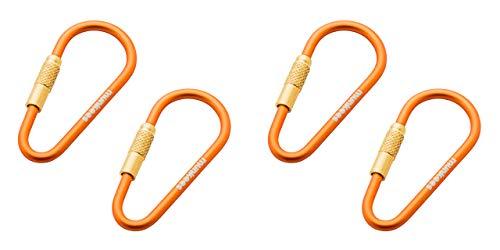 munkees 2 x Mini Link Karabiner Schlüsselanhänger - Ø 3 x 48 mm (2 Stück), Orange, Doppelpack, 320139