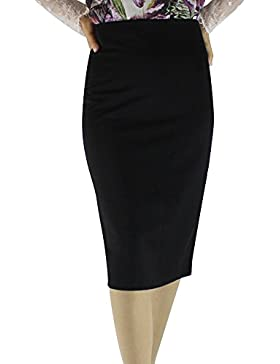 Yonglan Mujer Bodycon Lápiz Falda Color Sólido Cintura Alta Elasticidad Midi Tubo Faldas Negro XXL