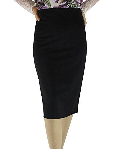 Yonglan Mujer Bodycon Lápiz Falda Color Sólido Cintura Alta Elasticidad Midi  Tubo Faldas Negro S 0cd71c2b796f
