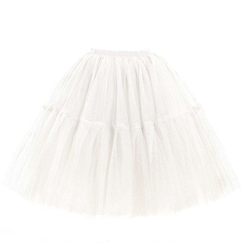 Babyonline Damen Tüllrock 5 Lage Prinzessin Kleider Knielang Petticoat Ballettrock Unterrock Pettiskirt Swing Einheitsgröße - Weiß -